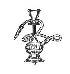 hookah engraving style vector image