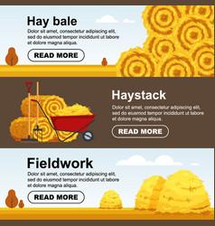 horizontal banner haystack wheelbarrow with bale vector image