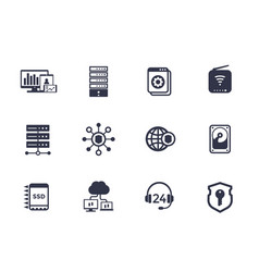 hosting servers network data storage icons vector image