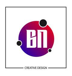 initial letter bn logo template design vector image