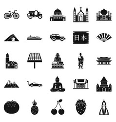 Islam icons set simple style vector
