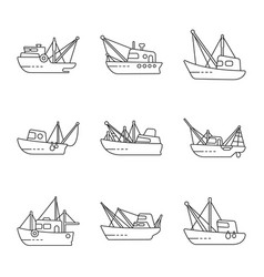 Isolated object commercial and vessel logo set vector