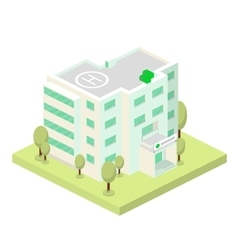 Isometric hospital building and landscape vector