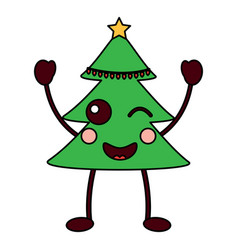 kawaii christmas tree cartoon happy vector image