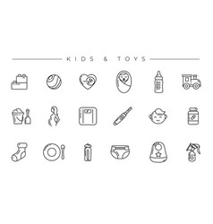 kids and toys concept line style icons set vector image