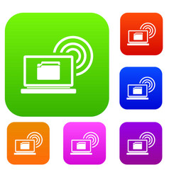 laptop and and wireless set collection vector image