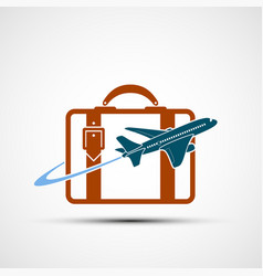 logo airplane is flying around the suitcase vector image
