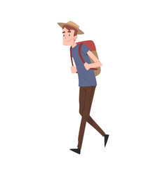 man traveler in hat walking with backpack cartoon vector image