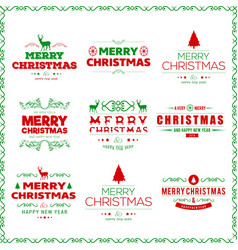 merry christmas typography set vector image