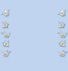 Origami paper swan hand drawn seamless pattern in vector