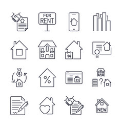 outline web icons set - real estate icon set with vector image