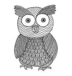 owl zendoodle zen tangle and zen doodle bird vector image
