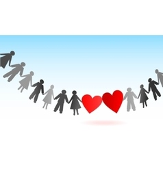 Paper chain men and women with hearts vector