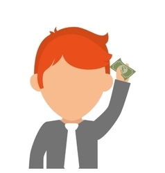 Person with bill money isolated icon vector