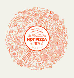 Pizza design template hand drawn fast food vector