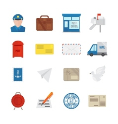 Post Service Icons Flat vector