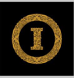 premium elegant capital letter i in a round frame vector image
