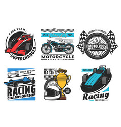 Racing and motorsport icons motorcycle car rally vector