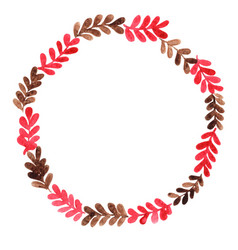 red and brown fern wreath watercolor vector image
