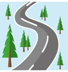 Road Forest Flat vector image
