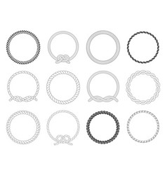 round rope frame circle ropes rounded border and vector image