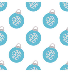 seamless pattern with blue christmas ball vector image