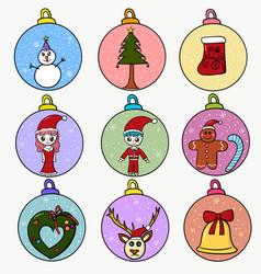 set ball christmas vector image