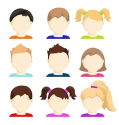 set child face icons vector image