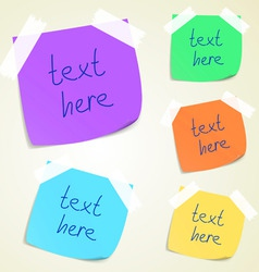Set colorful sticky memo notes vector