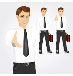 set of businessmen with briefcases vector image