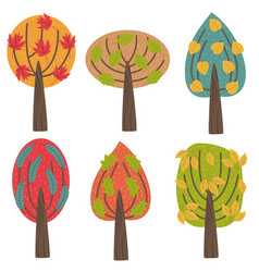 set of isolated autumn trees vector image
