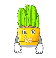 Silent cereus cactus with flower buds cartoon vector