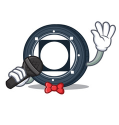 Singing byteball bytes coin mascot cartoon vector
