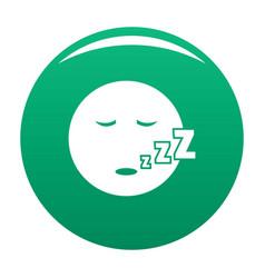 sleep smile icon green vector image