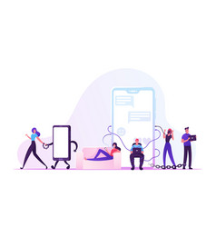 Social media addiction concept male and female vector
