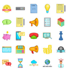 Spam advertising icons set cartoon style vector