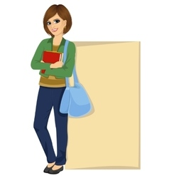 student leaning against a blank board vector image