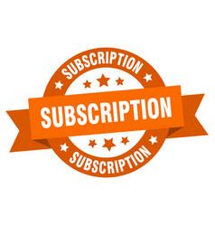 subscription ribbon subscription round orange vector image