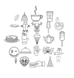 Sweet shop icons set outline style vector