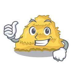 Thumbs up hay bale character cartoon vector