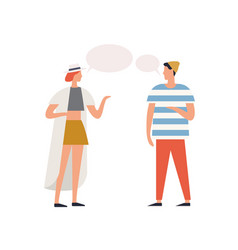 Trendy couple communication with speech bubbles vector