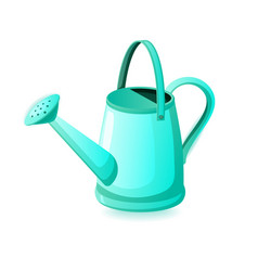 Turquoise watering can isolated on white vector
