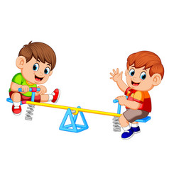 two boy playing on seesaw vector image
