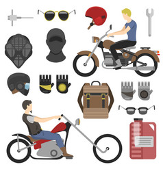 two motorcyclist with accessories set helmets vector image