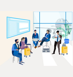 waiting room at airport in minimalist style vector image