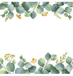 watercolor card with green eucalyptus vector image