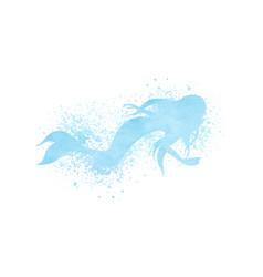 watercolor mermaid silhouette with paint splatter vector image