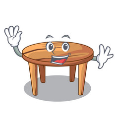 waving cartoon round wooden table in cafe vector image