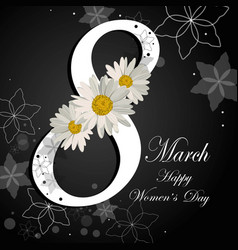 womens day greeting card with beautiful flowers vector image
