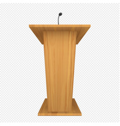 wooden podium or pulpit with microphone vector image